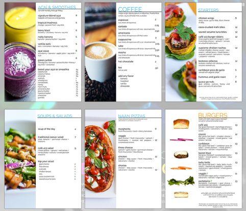 Café 413 Menu Photography and Design